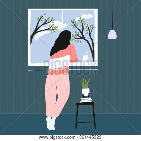 Young Woman At Home Longing At Window. Spring Landscape Outside, Blue Sky With Clouds And Trees. Coz