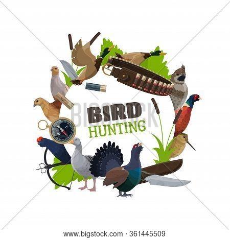 Wildfowl Birds Hunting Open Season And Hunter Ammunition Vector Poster. Hunter Ammo Equipment Rifle