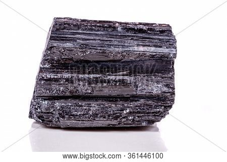 Macro Mineral Stone Sherle, Schorl, Black Tourmaline On White Background