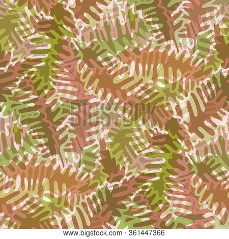 Fern Leaves Vector Seamless Pattern Background. Retro Forest Plant Frond Backdrop. Hand Drawn Monoch