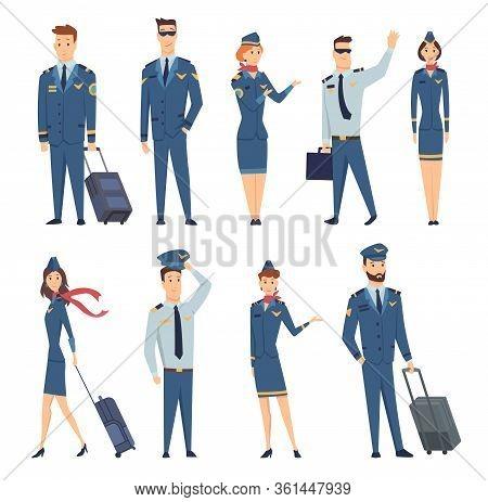 Team Of Smiling Civilian Aircraft Stewardess, Aircraft Pilot, Aircrew Captain And Aviators Dressed I