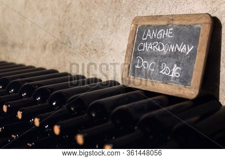 Many Bottles Of Langhe Chardonnay Doc (controlled Designation Of Origin), A Wine From Piedmont (ital