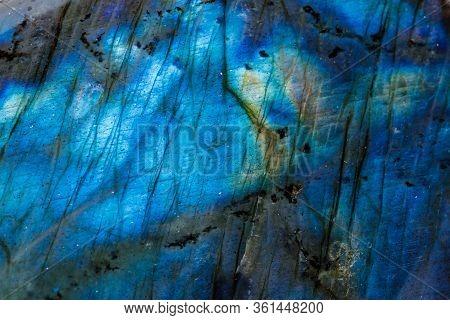Macro Mineral Stone Labradorite On White Background