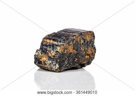 Macro Mineral Stone Sherle, Schorl, Black Tourmaline On White Background