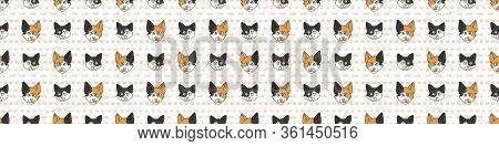 Cute Cartoon Japanese Bobtail Cat And Kitten Face Seamless Border Pattern. Pedigree Kitty Breed Dome