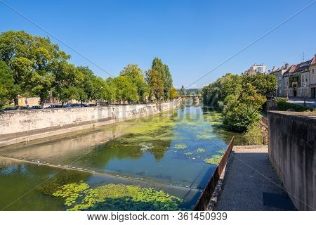 Metz, France - August 31, 2019: Cityscape View Of Metz Along The Moselle River, Lorraine, France