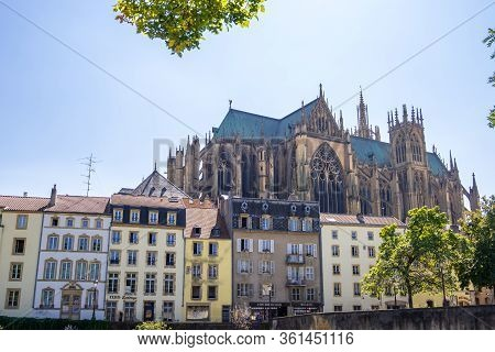 Metz, France - August 31, 2019: View On The Riverside With Beautiful Old Buildings, Cathedral Of St.