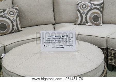 Cdc Guidelines And Recommendations Sign For People Not To Congregate On Patio Furniture Couch Sectio