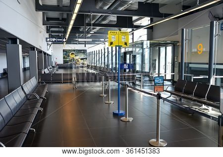 Charleroi, Brussels, Belgium - March 17, 2020: Empty Airport Terminal In The Belgian Airport. Gate W