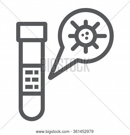 Test Tube Line Icon, Blood And Coronavirus, Test Tube With Covid-19 Sign, Vector Graphics, A Linear