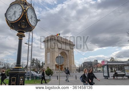 Bucharest, Romania - December 15 2019: Moody View Of National Romanian Triumphal Arc In Bucharest, P