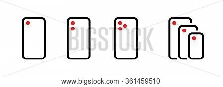 Set Of One, Dual, Three And Compare Camera Phone Icons. Editable Line Vector.