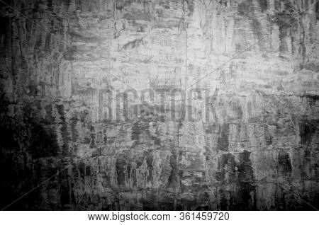 Wall Panel Grunge Black Or Dark Grey Concrete With Light Background. Backdrop Dirty,dust Black Wall