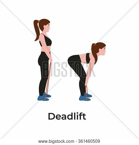 Booty Or Glutes Workout With Resistance Bands. Deadlift Concept. Stay Home And Do Sport. Flat Vector