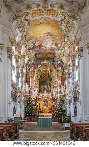 Feb 1, 2020 - Steingaden, Germany: Front Facade With Main Altar Inside Pilgrimage Church Of Wies Wie