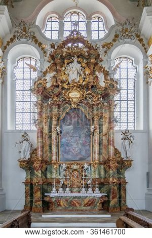 Feb 1, 2020 - Steingaden, Germany: Rococo Style Altar In Pilgrimage Church Of Wies, Wieskirche