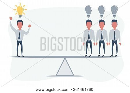 Business Swing. Idea - Competition, Rivalry Concept. Businessman Standing On Seesaw. Vector Illustra