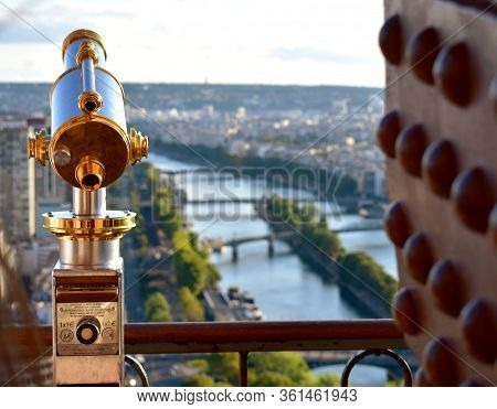 Paris, France. August 13, 2018. Spyglass At The Tour Eiffel Or Eiffel Tower Viewpoint.