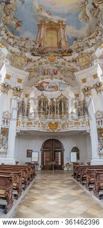 Feb 1, 2020 - Steingaden, Germany: Entrance Of Pilgrimage Church Of Wies Wieskirche With Pipe Organ