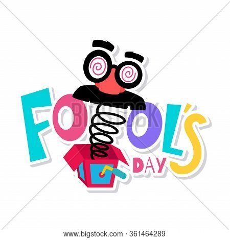 April Fools Poster. Joke Box With A Joke Mask - Vector Illustration