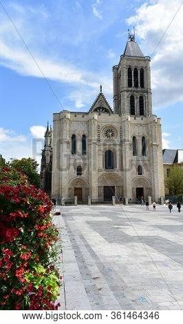 Paris, France. August 12, 2019. Basilique Saint-denis Or Basilica Of Saint Denis, West Facade.