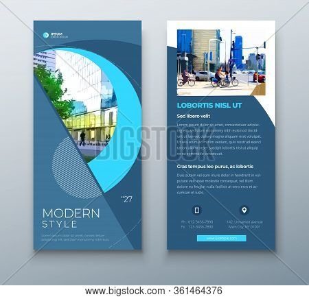 Dl Flyer Design. Blue Business Template For Dl Flyer. Layout With Modern Circle Photo And Abstract B
