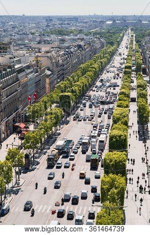 Paris. France - May 15, 2019: Avenue des Champs Elysees. View from Arc de Triomphe in Paris. France.