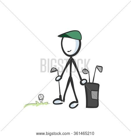 Golf Player With A Club Bag And Equipment. Golf Field. Hand Drawn. Stickman Cartoon. Doodle Sketch,