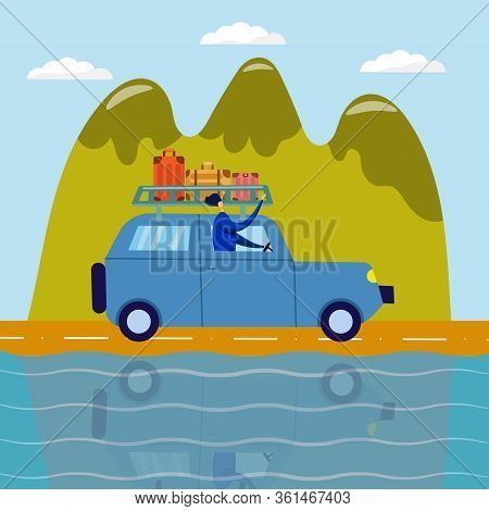 Adventure Travel. Man Travels On An Suv With Suitcases, Background Of Mountains, Vector Flat Illustr