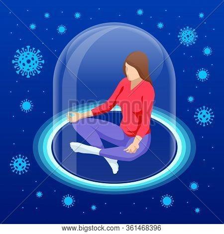 Isometric Corona Virus Self-quarantine Concept. Isolation Period At Home. Self-isolation, Staying Ho
