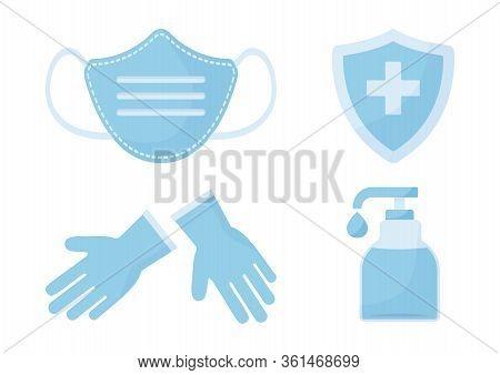 Disinfection. Virus Prevention Icons. Face Medical Mask, Gloves, Hand Sanitizer Bottle. Medical Insu