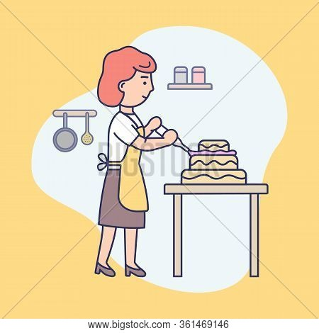 Happy Girl Is Cooking Food At The Kitchen, Baking And Decorating Tasty Pie. Female Character Is Deco