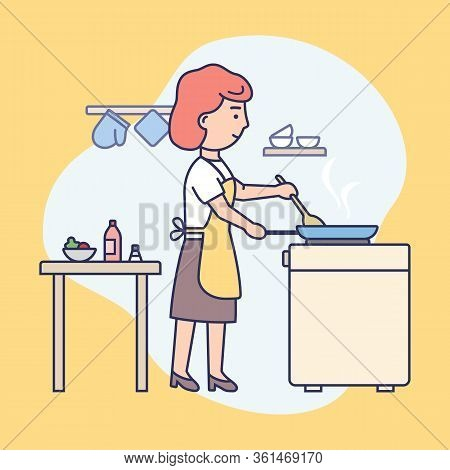 Cooking Show Concept. Young Girl Is Cooking Food At The Kitchen. Female Character Is Frying Food In