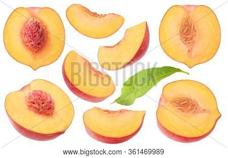 Isolated Peaches Collection. Pieces Of Fresh Peach Fruits Of Different Shapes Isolated On White Back