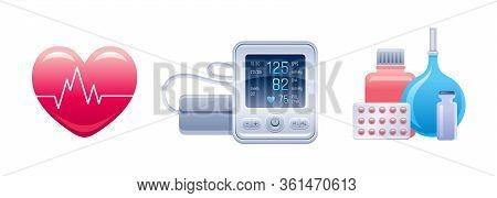 Medical Equipment And Device Icon Set. Heart With Cardiogram Line, Tonometer, Pills, Medicine, Enema