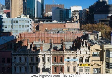 Melbourne, Australia - June 14, 2017: Historic Buildings On Elizabeth Street In Melbourne Cbd. Austr
