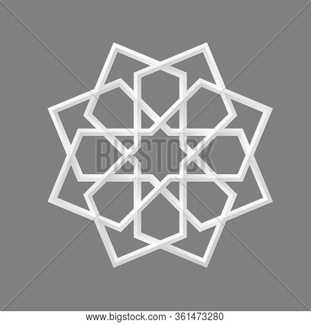 Geometric Islamic Ornament Rosette For Decoration Greeting Card Or Interior. Vector Illustration.