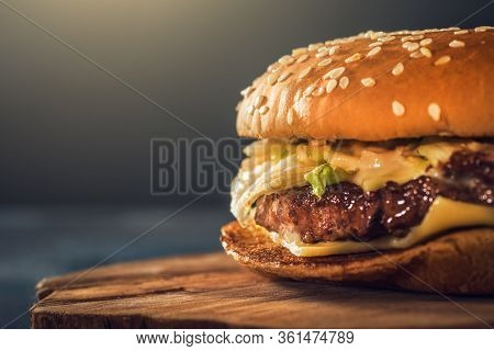 Fresh Delicious Homemade Burger Or Hamburger With Juicy Meat, Cheese And Vegetables, Fast Food, Macr