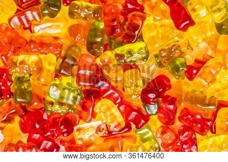 Gummy bears, jelly candy. Colorful bonbons.