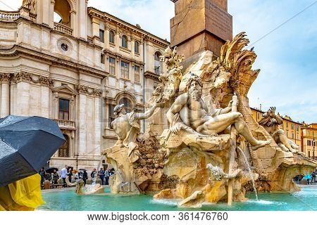 Rome, Italy - November 04 2018: Fountain Of Four Rivers (fontana Dei Quattro Fiumi) In Piazza Navona