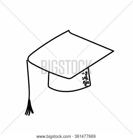 Graduation Cap Bachelor Hat Education. A Hand Drawn Vector Doodle Illustration Of A Graduation Cap.