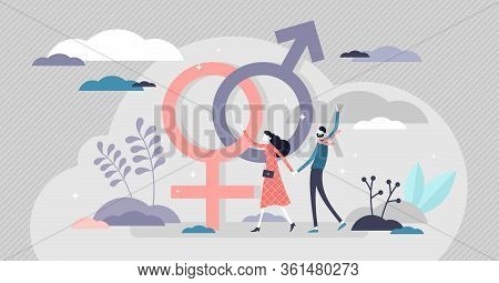 Gender Vector Illustration. Classical Orientation Flat Tiny Persons Concept. Heterosexual Couple Hol