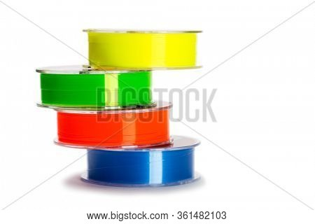 Multi-colored monofilament fishing line for fishing isolated on white