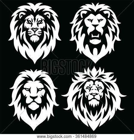 Lion Logo Mascot Set Icon Black And White Collection Pack Premium Vector Design