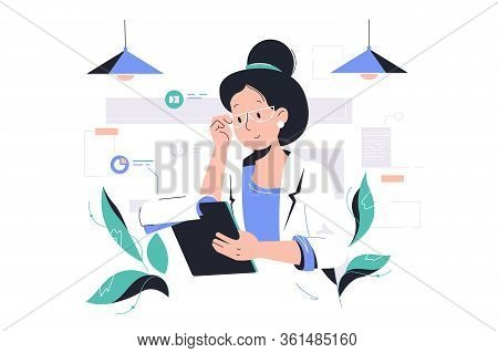 Smart Woman Working With Data Vector Illustration. Female Accountant Holding Clipboard In Office Fla