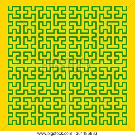 Hilbert space filling pattern in green and yellow
