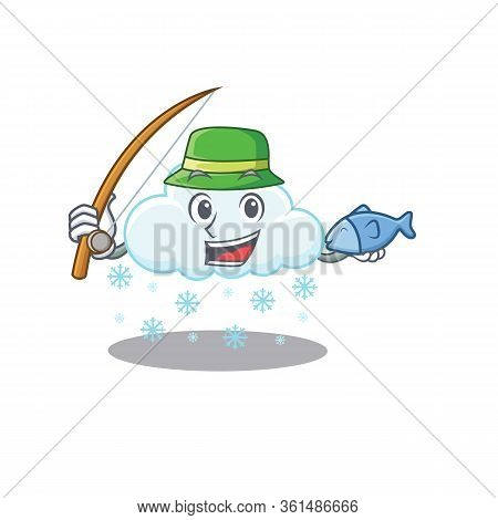 Cartoon Design Concept Of Snowy Cloud While Fishing