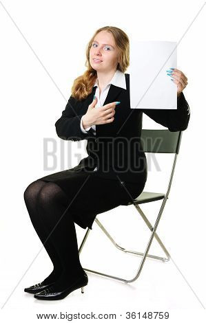Businesswoman With A Blank