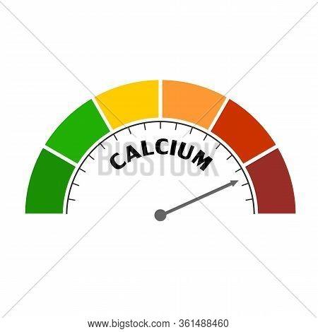 Gradient Scale. Calcium Level Measuring Device Icon. Sign Tachometer, Speedometer, Indicators. Infog