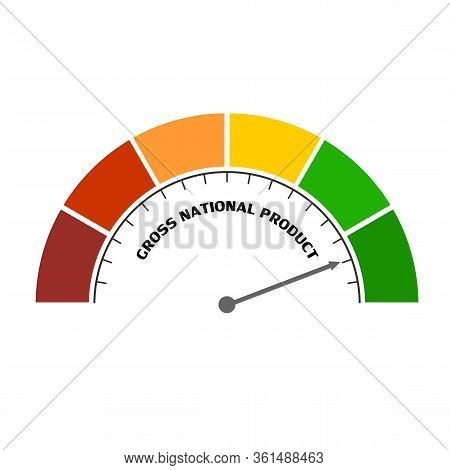 Gnp - Gross National Product Progress. Scale With Arrow. The Measuring Device Icon. Sign Tachometer,